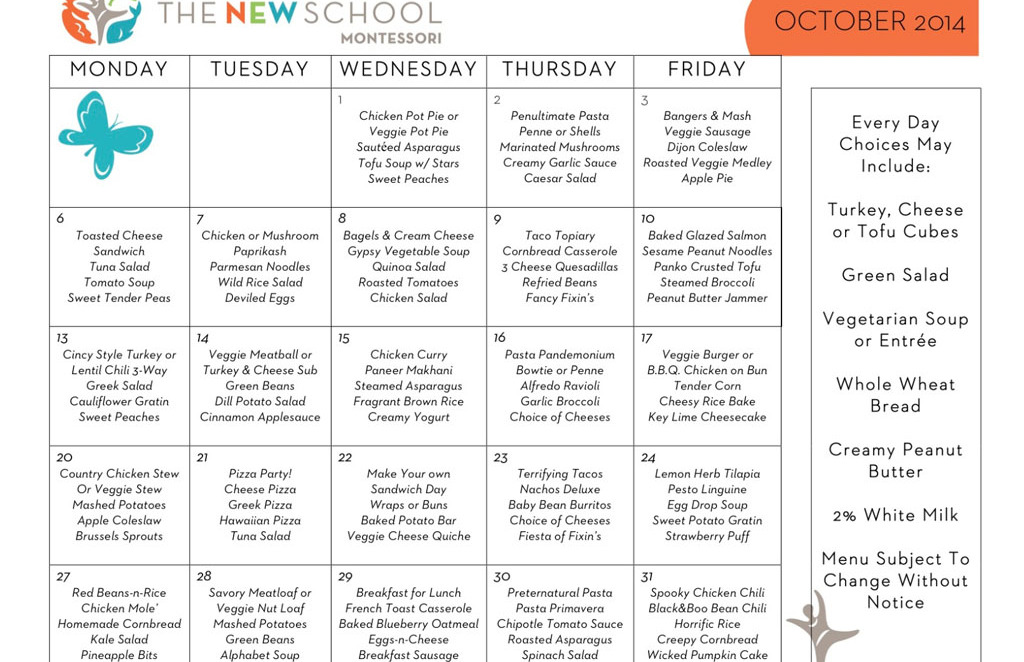 October Menu resized